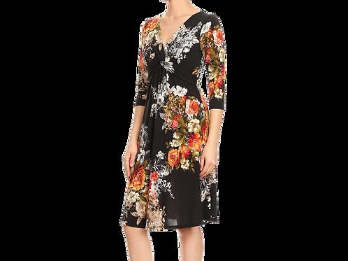 Fall Bouquet 3/4 Sleeve empire dress