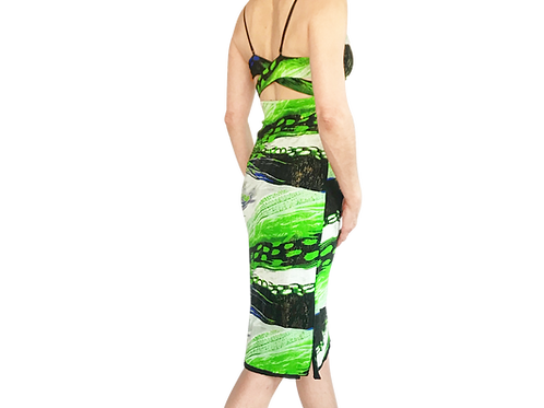 Blue Lime Waves cross strap dress