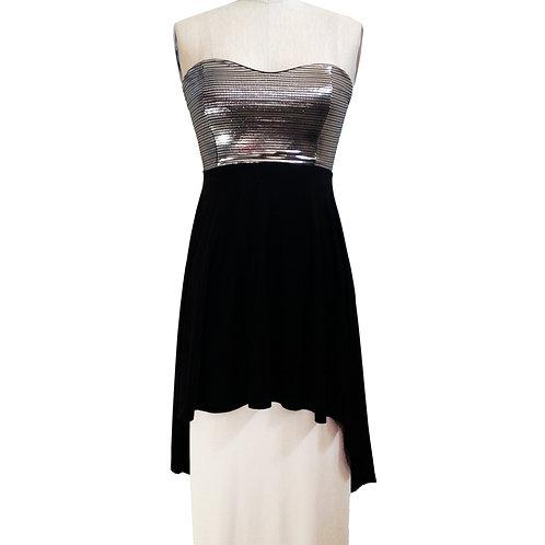 Silver Hi-Lo Strapless dress