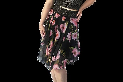 Black + Pink Roses Chiffon circle skirt