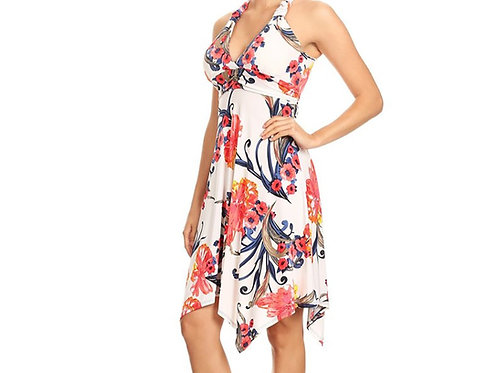 Ivory + Coral  Swing dress