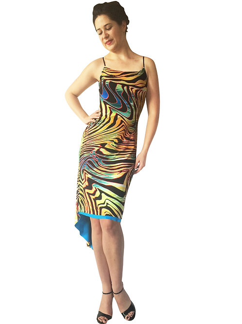 Psychedelic Zebra fishtail dress