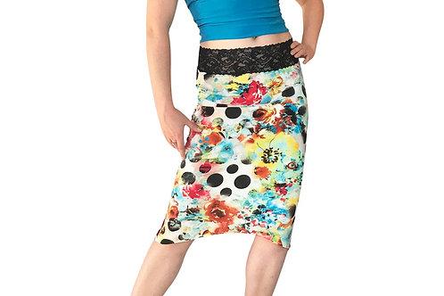 Polka Dot Floral Collage tuxedo pencil skirt
