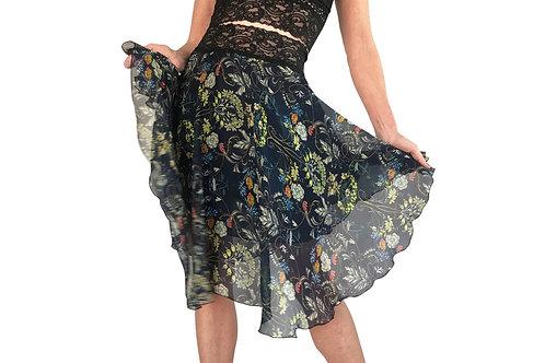Navy Russian Floral chiffon circle skirt