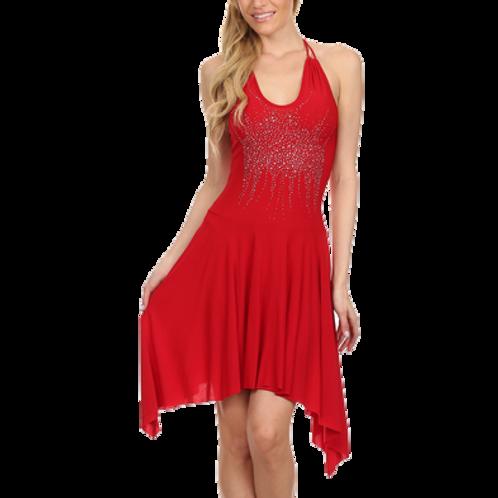 Blingy fit & flare halter dress