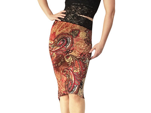 Burgundy Paisley tuxedo pencil skirt