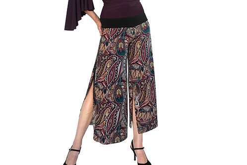 Eggplant + Teal Paisley cropped pant with slits