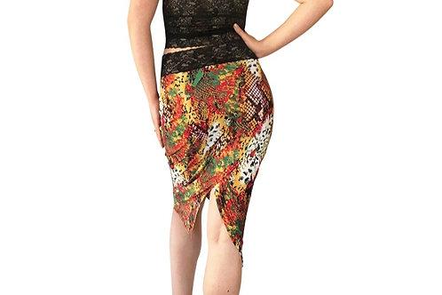 Snake Gold Glimmer tuxedo pencil skirt