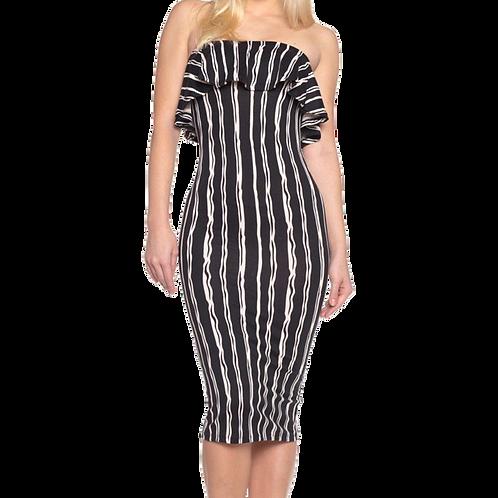 B& W Striped ruffle top strapless sheath dress
