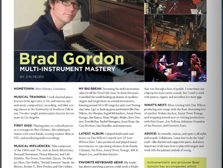 Brad Gordon in Keyboard Magazine