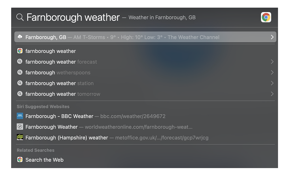 Spotlight Search can quickly tell you what the local or world weather will be.