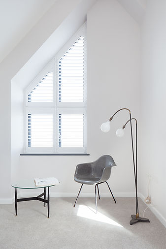 Loft space interior window chair