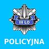 ikona klasa policyjna, odznaka policyjna z napisem III LO na błękitnym tle
