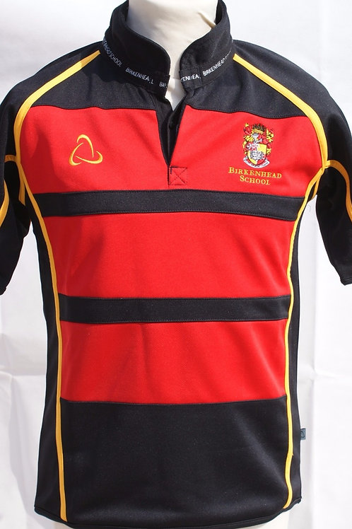 Black/Red Short-Sleeved Rugby Top