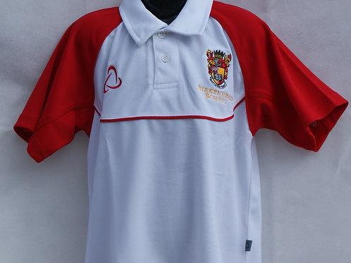Boys White Polo Shirt with House Colour