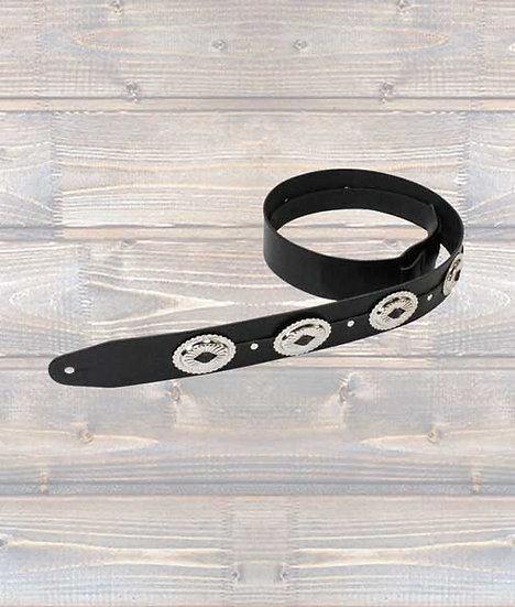 Leathergraft 2″ Black Leather Conch Guitar Strap XL