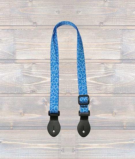 Leathergraft Ukulele Webbing Strap – Blue Leopard