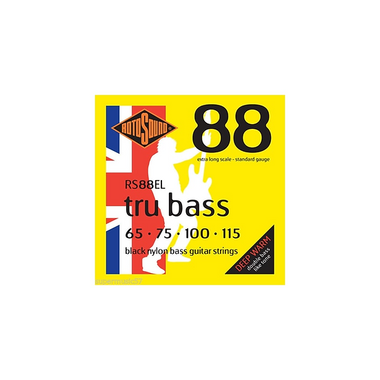 Rotosound Tru Bass Black Nylon Flatwound Bass Guitar Strings 65-115 XL Scale