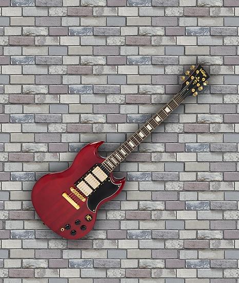 VINTAGE VS6 3 PICK UP GUITAR - GOLD HARDWARE - CHERRY RED