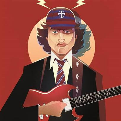 Angus Young Greetings Card