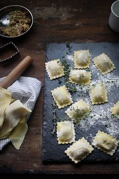 Homemade ravioli with butter and sage