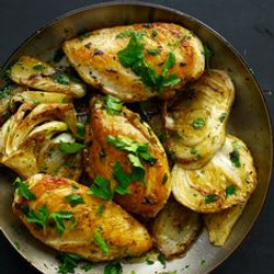 Roasted chicken with fennels