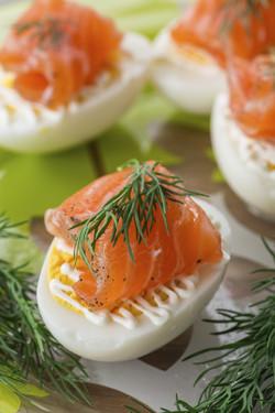 Eggs with smocked salmon and yogurt