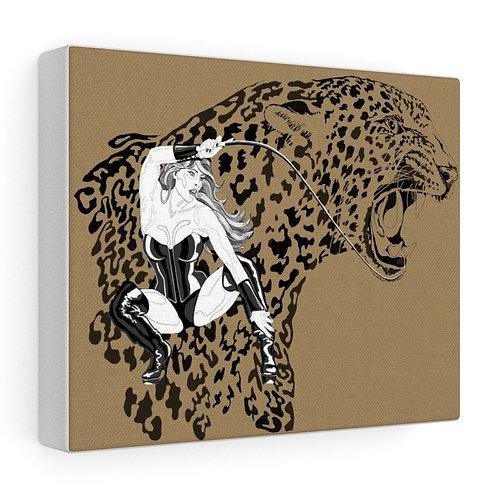 Phoenix the Jaguar Stretched canvas print - tan