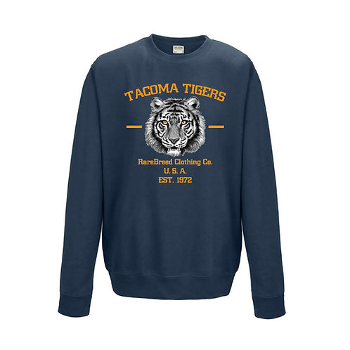 RAREBREED TACOMA TIGERS CREWNECK AIR FORCE BLUE