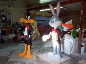 Warner Brothers Bugs and Daffy Duck Sculptures