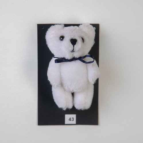 Small Bow Bear White