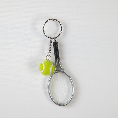 Tennis Racquet Keychain Silver