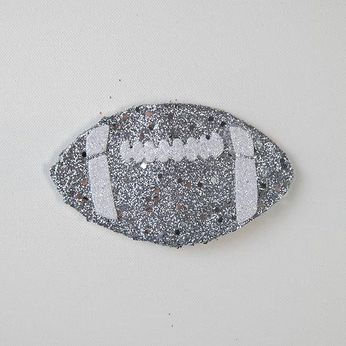 Flat Glitter-Football-Silver