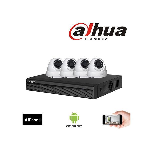 Kit vidéosurveillance 4MP Dahua - 4 dômes 4MP, 30m