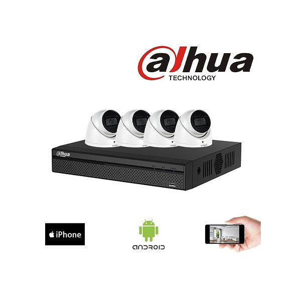 Kit vidéosurveillance 4K Dahua - 4 dômes 8MP, 2.8mm, 50m