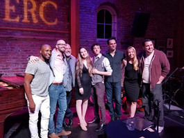 Heather Youmans with the cast of Jason Robert Brown in concert at Cabaret at the Merc (MD Gerald Sternbach)