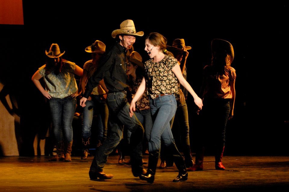 """Heather Youmans sings """"Let's Hear It For The Boy"""" as Rusty in Footloose."""