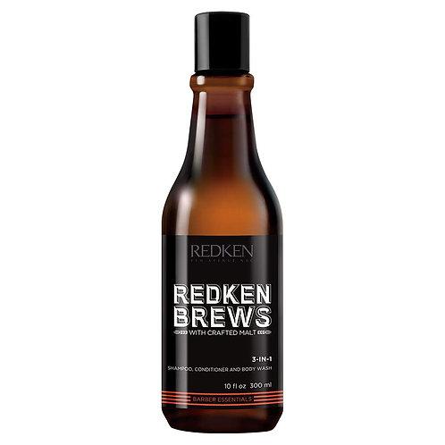 Redken Brews 3-in-1 Shampoo, Conditioner & Body Wash