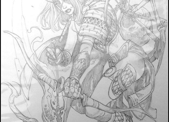 WoW Night Elf Hero Intermediate Sketch