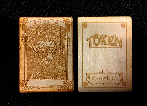 WT005 Wolf 1 Wood Token