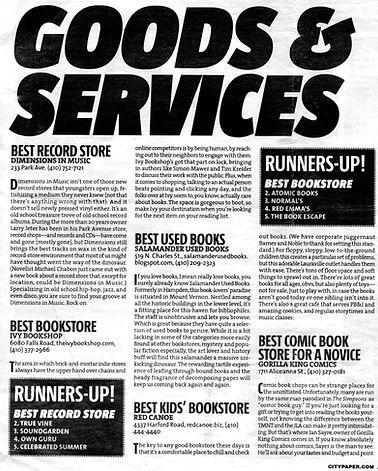 Baltimore City Paper Best of.  Salamander Books