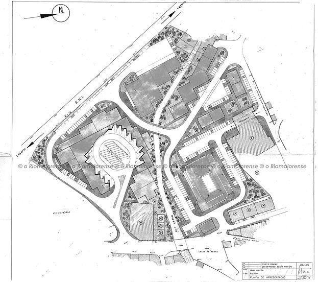 Plano de Pormenor da Zona do Mercado e Estação Rodoviária, a construir nos terrenos da Villa Romana e da Moagem Maria Celeste, Arquitecto Carlos Garcia, 1984. © Arquivo O Riomaiorense.