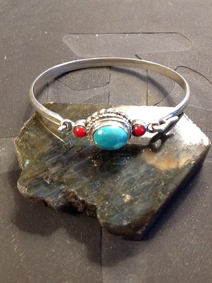 Sterling Silver (.925) Bracelet with Turquoise and Coral