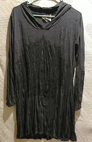 Dark Grey Lotus Mandala Hoodie Dress