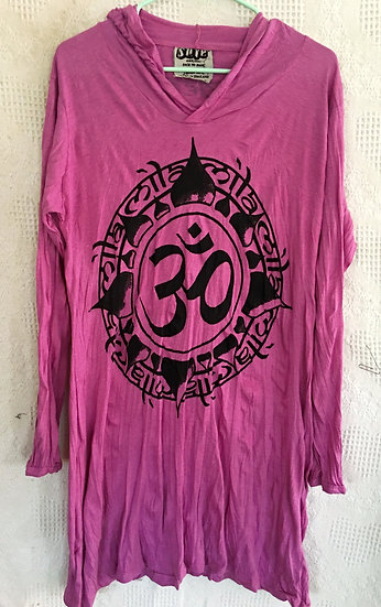 Deep Pink OM Symbol in Lotus Design Hoody Dress