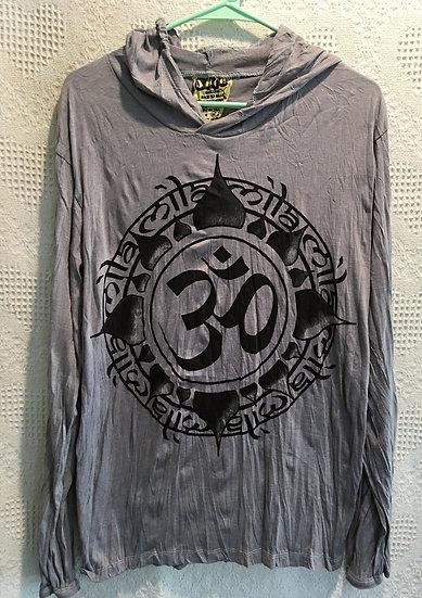 Grey OM Symbol in Lotus Hoodie