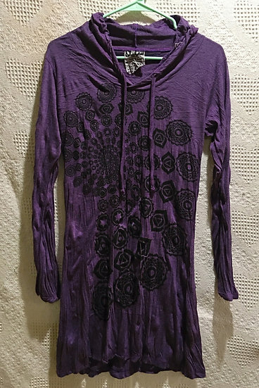 Purple Fractal Design Hoodie Dress