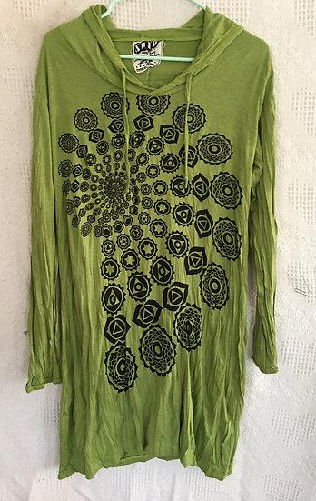 Green Fractal Design Hoodie Dress