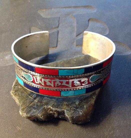 Multi-Stone Inlay Cuff Bracelet with Mani Mantra