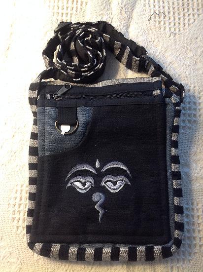 Black Buddha Eyes Shoulder Bag